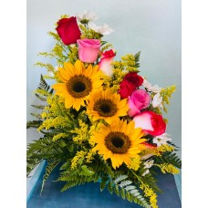 Arreglo Floral 6 Rosas y 3 Girasoles