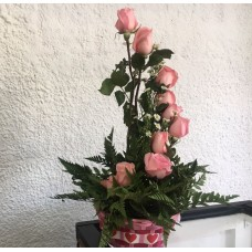 Arreglo Floral 12 Rosas Rosadas