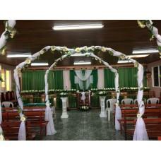 Alquiler Arco DOBLE Decorativo para Bodas con Tela y Flores